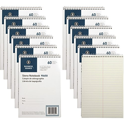 Business Source Green Tint Steno Notebook, 12/Pack (90650PK) by Business Source