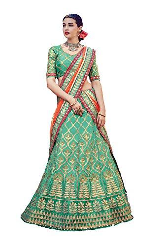 Da Facioun Womens Green Color Striking Lehenga Choli With Beads Work 79638