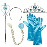 WENTS Princess Party Accessories Elsa Dress Up Aeccessories Tiara, Gloves, Magic Wand, Braid 5PCS Blue for Girls Princess Cosplay Party