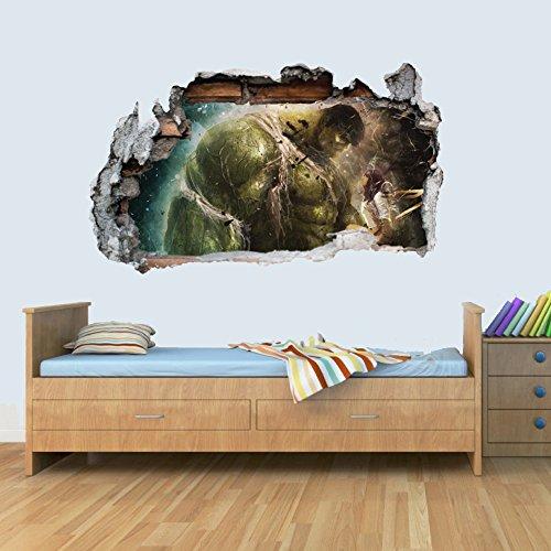 L Vinyl Wall Smashed 3D Art Stickers of Illustrated Hulk Poster Bedroom Boys -