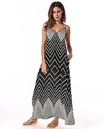 StyleDome Women Dresses Strappy Sleeveless Printed V Neck Loose Maxi Long Dress Black S