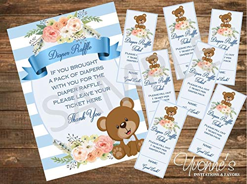 Baby Shower Diaper Raffle Tickets and Sign - Boho Baby Bear Boy Design in Blue - SET of 48 TICKETS + 1 SIGN ()
