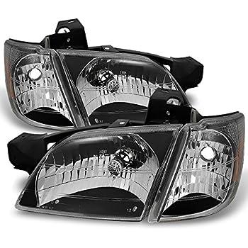 For Chevy Venture Silhouette Montana Van Black Headlights W/Corner Signal Lamps 4pc Complete Set