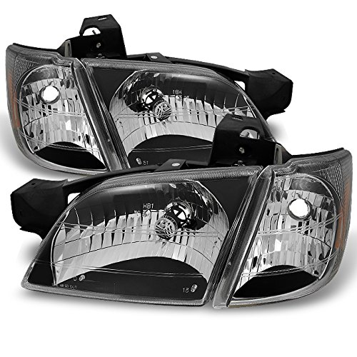 For Chevy Venture Silhouette Montana Van Black Headlights W/Corner Signal Lamps 4pc Complete Set