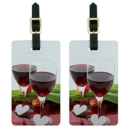 Romance Wedding Anniversary Hearts Wine Celebration Luggage Tags, White (Heart Design Luggage Tags)