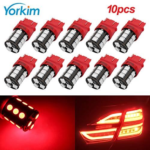 Yorkim Super Bright 3157 LED Light Bulbs Red Pack of 10, 3157 LED Brake Lights, 3157 LED Backup Reverse Lights, 3156 LED Reverse Tail Lights, Turn Signal Led - 3056 3156 3057 3157 4157 LED Bulbs