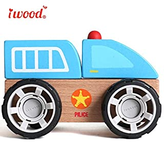 iwood Toys Cars for 3-6 Year Old Wooden Toddler Toys for Kids[Police Car]