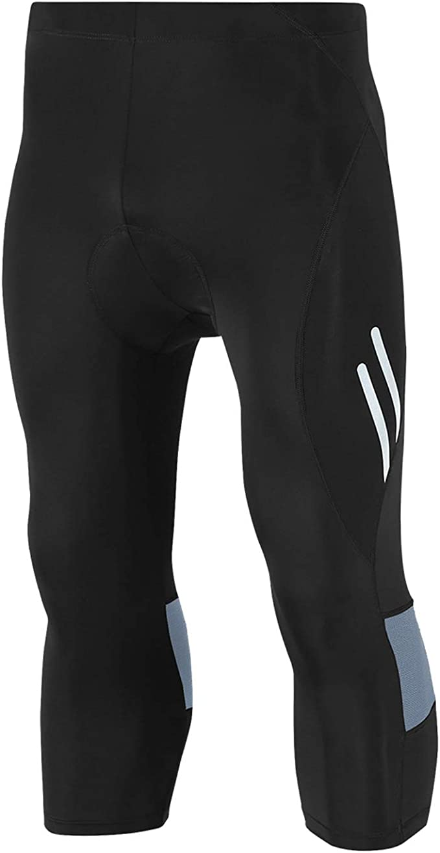 Legendfit Men's Cycling Tights 4D Padded Capri Bike Pants Hidden Pocket
