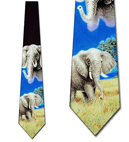 Elephant Tie Mens Neckties Ties by Three Rooker - Elephant Necktie