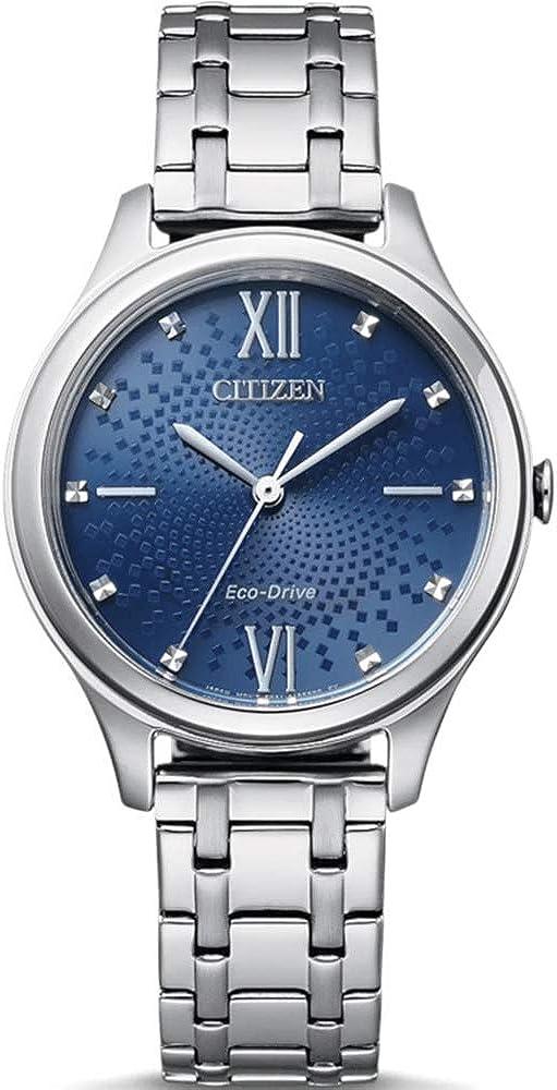 Ciudadano de Reloj de Tiempo de Dama de Acero con Esfera Azul EM0500-73L