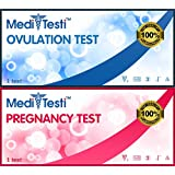 MediTesti™ Ovulation & Pregnancy Test - Includes 50 Ovulation Test Strips (LH Test) & 25 Early Pregnancy Test Strips (hCG Test)