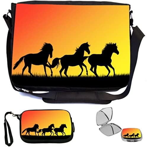 Rikki Knight Galloping Horses Silhouette Design COMBO Multifunction Messenger Laptop Bag - with padded insert for School or Work - includes Wristlet & Mirror
