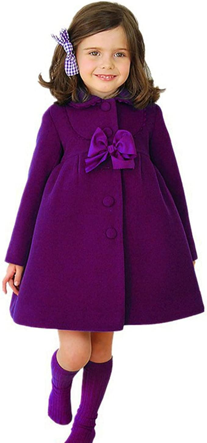 Autumn Winter Girls Kids Baby Outwear Cloak Button Jacket Warm Coat Clothes UK