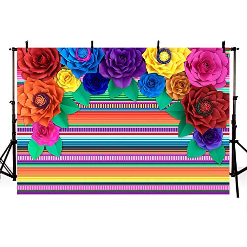 MEHOFOTO 7x5ft Fiesta Theme Party Colorful Stripes Backdrop Cinco De Mayo Mexican Festival Photography Background Paper Flower Decoration Event Table Decor Banner Background Photo Booth Props -