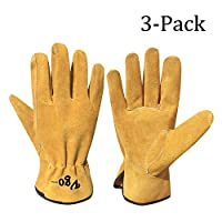 Vgo 3Pairs Unlined Cowhide Split Leather Work and Driver Gloves,for Heavy Duty/Truck Driving/Warehouse/Gardening/Farm(Gold,CB9501)