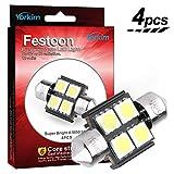 3022 led bulb - De3175 LED Light Bulb, Yorkim 4pcs White Error free Light 31mm (1.25