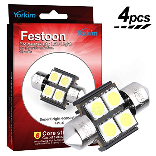 "De3175 LED Light Bulb, Yorkim 4pcs White Error free Light 31mm (1.25"") 5050 4-SMD 12V Festoon LED for De3021 De3022 3175 (Pack of 4)"
