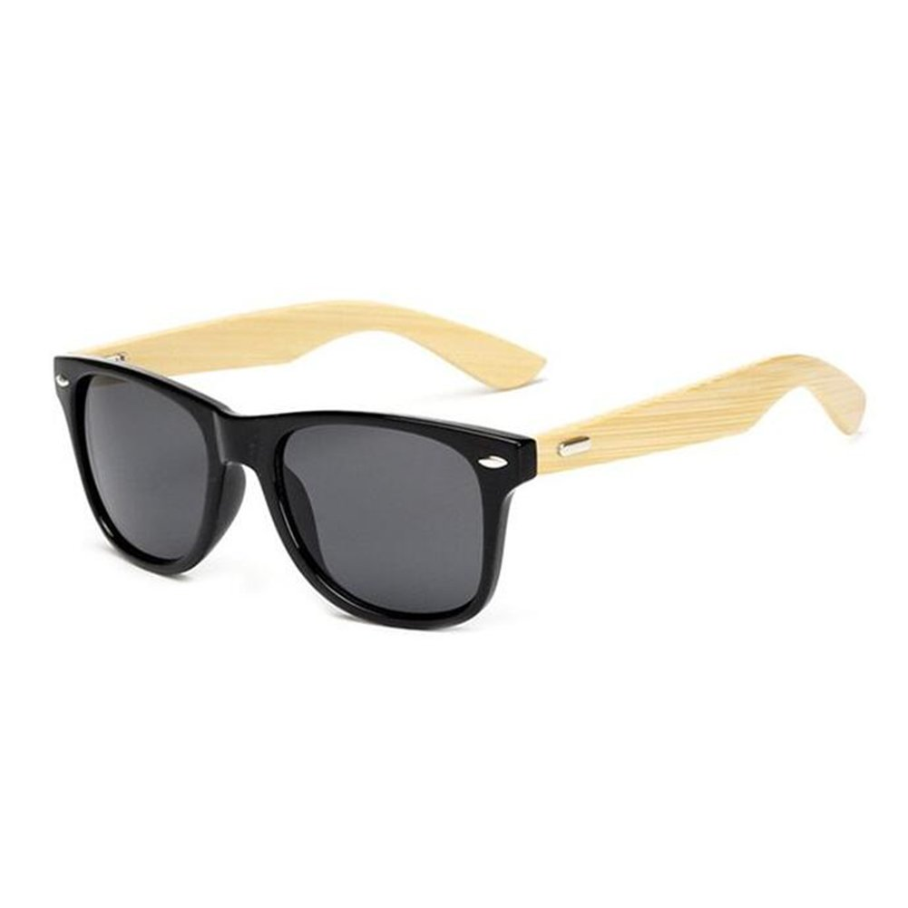 Coolsunny Bamboo Wood Sunglasses with Black Frame CS1501 (Black-Gray, 62)