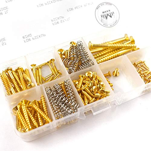 MAKA Guitar Screw Kit Assortment Box Kit for Electric Guitar Bridge, Pickup, Pickguard, Tuner, Switch, Neck Plate, with Springs, 9 Types, Total 149 Screws, Gold