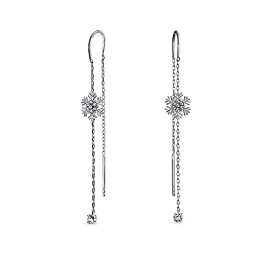 33117f23c Amazon.com: Thin Winter Holiday Snowflake Ear Threader Chain Dangle ...