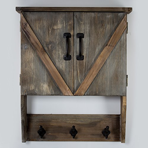 American Art Décor Rustic Wood Storage Cabinet with Shelves and Hooks - -