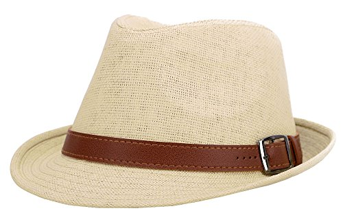 AbbyLexi Women's Summer Straw Panama Triby Sun Fedora Hat w/Belt, Natural, LXL