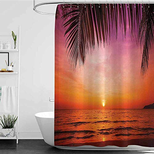 Jouiysce Shower Curtains for Bathroom Tropical Decor,Exotic Sunset Above Sea Scene from Coconut Palm Tree Leaf Heaven Picture,Pink Orange W48 x L84,Shower Curtain for Shower stall
