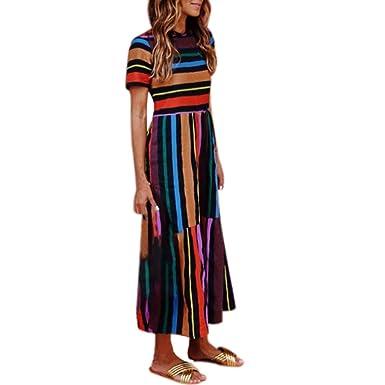 35d8103b3880f Amazon.com: Snowfoller Women Boho Hippie Shirt Dress Retro Rainbow Striped  Print Loose Swing Dress Summer O-Neck Dress: Clothing