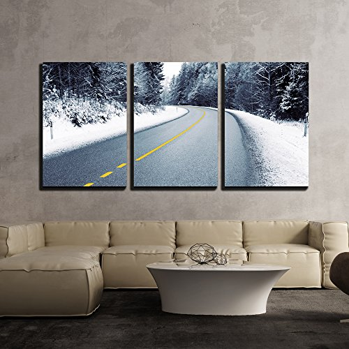 Empty Country Road in Snowy Forest in Winter - Modern Home