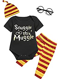 4Pcs Outfit Set Baby Boy Girls Snuggle This Muggle Romper With Glasses