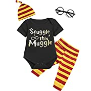 Angebebe 4Pcs Outfit Set Baby Boy Girls Snuggle This Muggle Romper with Glasses