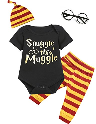 Angebebe 4Pcs Outfit Set Baby Boy Girls Snuggle This Muggle Romper with (Newborn Baby Halloween Clothes)