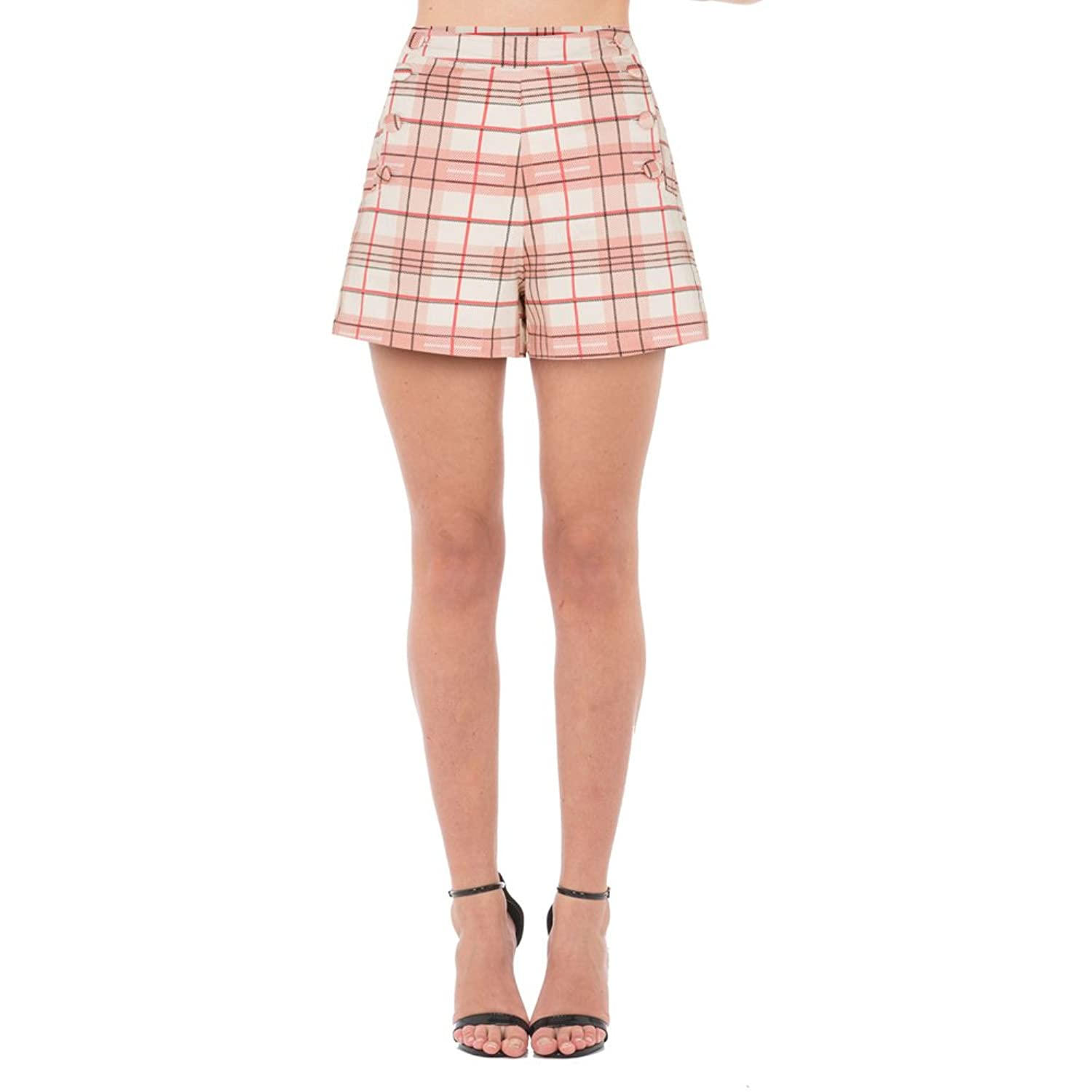 1950s Shorts History Womens Voodoo Vixen Kathy Plaid High Waist Shorts Pink $36.99 AT vintagedancer.com