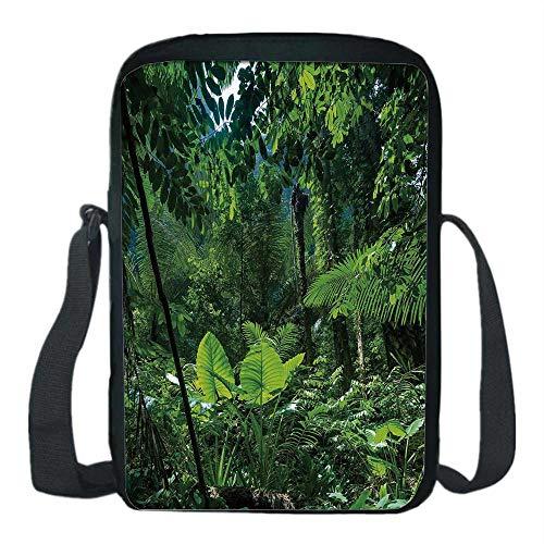 Plant Print Kids Crossbody Messenger Bag,Green Jungle Untouched Nature Environmental Concerns Flora Fauna Jungle Rainforest Decorative for Boys,9''H x 6''L x - Jungle Green Bags Messenger