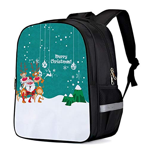 Celebrating Reindeer - Kids School Backpack Travel Anti Theft Durable Backpack, Christmas Santa and Reindeer Celebrating Party Decorations Water Resistant Student Notebook Schoolbag for Kids/Boys/Girls/Camping/Picnic