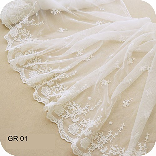 "17.7"" Width Ivory White Antique Retro Floral Embroidered Mesh Lace Dress Edge Lace Trim Fabric Ribbon Wedding Bridal Veils Craft Tulle Lace Trim (GR01 White)"