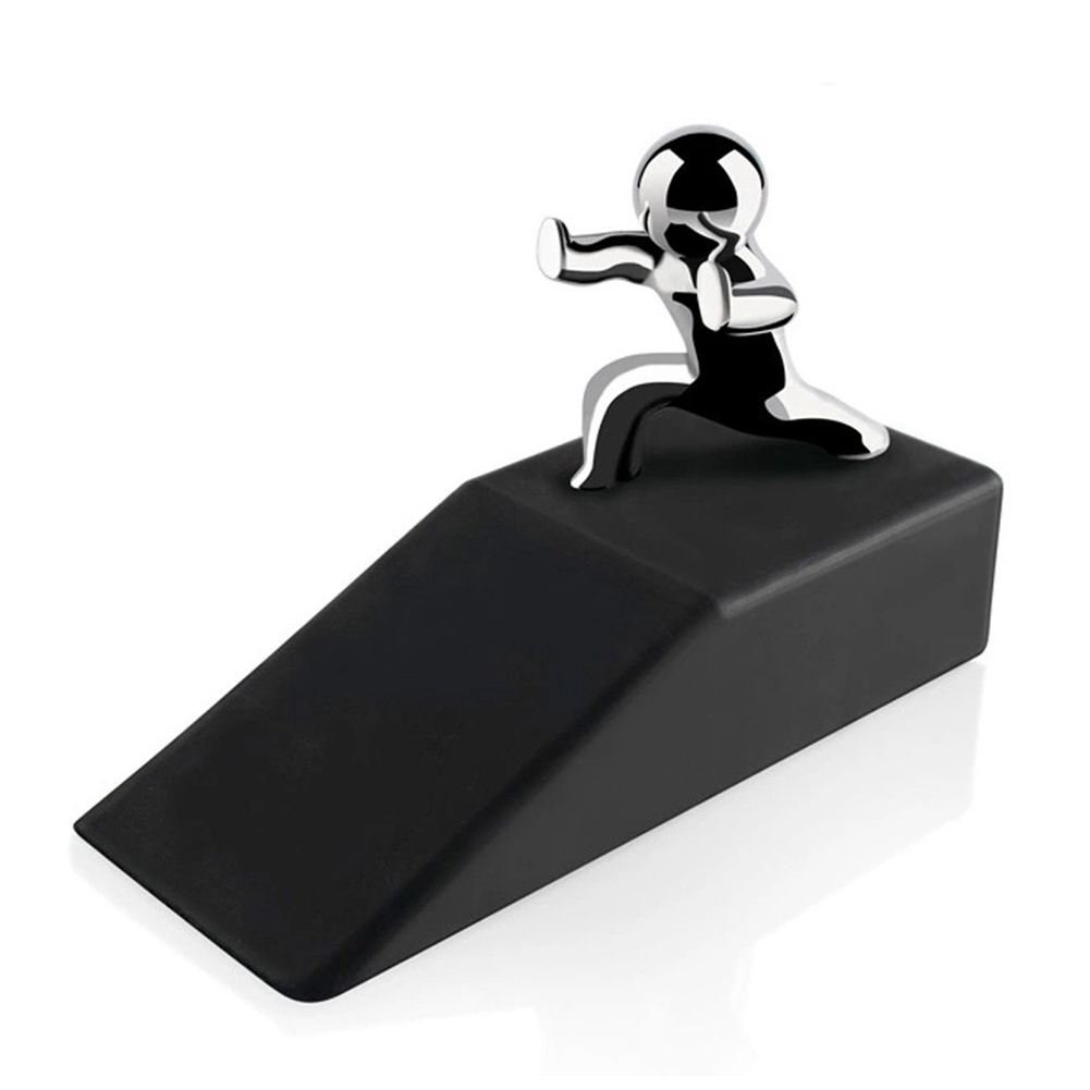 SODIAL Zinc Alloy Little and Man with Non-slip Rubber Bases Door Stop Safe Anti-collision Door Stopper Noveltydesign Decorative