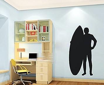 Homemay PVC pegatinas de pared tabla de surf silueta de surf decoración para el hogar para