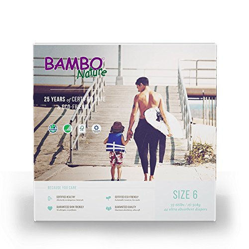 Bambo Nature Eco Friendly Baby Diapers Classic for Sensitive Skin, Size 6 (35-66 lbs), 44 Count (2 Packs of 22)