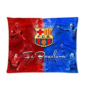 Fcb Logo Barcelona Personalized Custom Soft Pillow Case Cover 20X26(One Side) - With Lionel Messi And Other Foot Star Half Vivid Red Hale Bule Shine Unique Design Pillowcase by icecream design