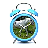 GIRLSIGHT Alarm Clock for Kids Child Retro Silent Pointer Alarm Clock Strong Bedside Tables Cute Loud Alarm Light House Decorations 701.White Horse(Blue)