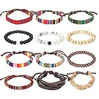 Forever & Ever Friendship Leather 7 Chakra Tribal Bracelets - (Unisex) 12 Pack Charm Ethnic Hand Knit Boho String Hemp Wood Bead Bracelets for Women Jewelry Wristbands