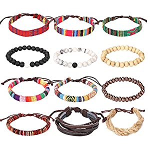 Forever & Ever Friendship Leather 7 Chakra Tribal Bracelets - (Unisex) 12 Pack Charm Ethnic Hand Knit Boho String Hemp Wood Bead Bracelets for Women Jewelry Wristbands