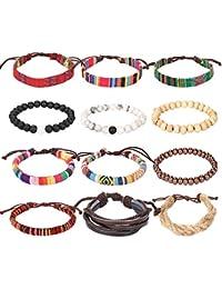 Leather Chakra Bead Tribal Bracelet - (Unisex) 12 Pack Charm Ethnic Hand Knit Boho String Hemp Wood Beaded Bracelets for Men Women Girls Jewelry Wristbands