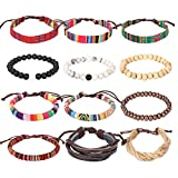 #1: Forever & Ever Leather Chakra Bead Tribal Bracelet - (Unisex) 12 Pack Charm Ethnic Hand Knit Boho String Hemp Wood Beaded Bracelets for Men Women Girls Jewelry Wristbands