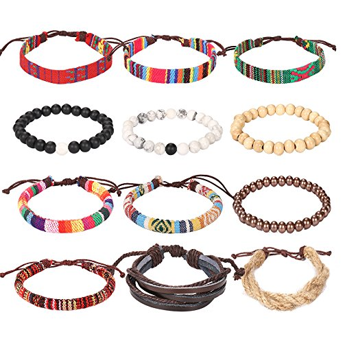 Wrap Bead Braided Tribal Leather Woven Stretch Bracelet - 12 Pack Boho Hemp Linen String Bracelet for Men Women Girls