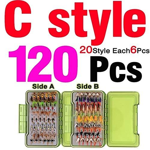 Señuelos de pesca – 40/54/72/120 en caja con mosca para pesca con mosca, señuelos de trucha secos y húmedos, anzuelo...