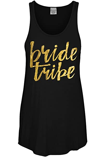 b1403eedec Amazon.com  COLORBEAR Women s Bride Tribe W Gold Foil Graphic Scoop Neck Tank  Top  Clothing