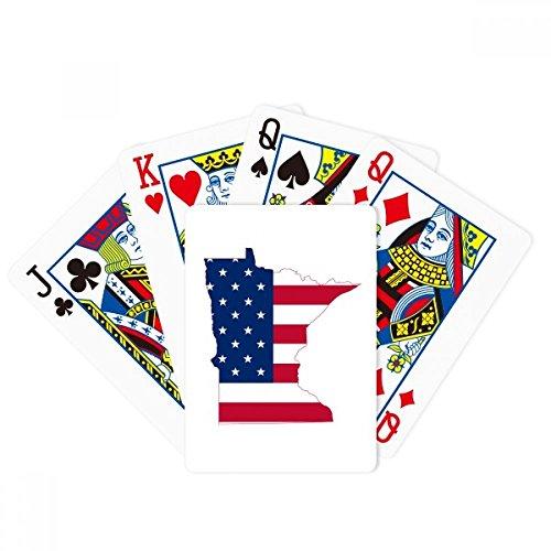 DIYthinker Minnesota USA Map Stars Stripes Flag Shape Poker Playing Cards Tabletop Game Gift