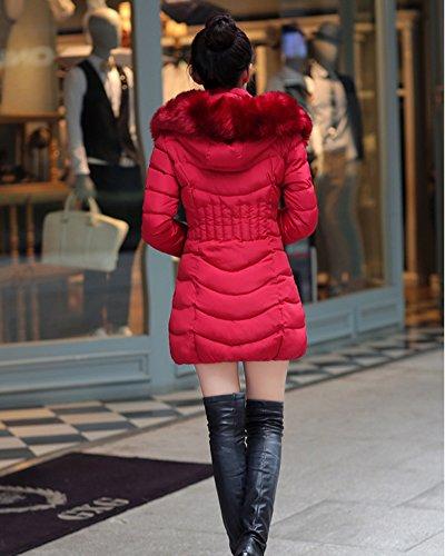 Cálido Mujer Algodón Rojo Abrigo oscuro Parka Outerwear Fit Chaqueta Encapuchado Quilting Slim cómodo y 81rw1xETq